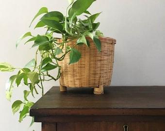 Bamboo Bohemian Basket Planter / Large Woven Planter