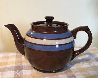Single Serve Sadler England Teapot Brown Earthenware with Blue and Beige Striped Bands