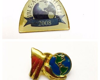 Lot of Two World Pins Lapel, Gold Tone, World Design,  Enamel, Collectors Pin, Item No. B292