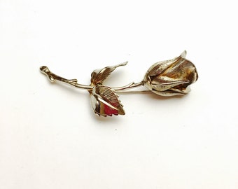 Vintage  steam Rose BROOCH, silver tone, figural pin, Pre Holiday sale, item No. B033