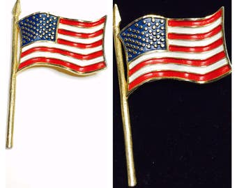 Vintage USA Flag BROOCH, stamped , Patriotic Pin, Gold Tone, Clearance Sale, Item No. B649