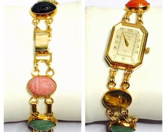 Egyptian Scarabs Keneth Jay Lane Wrist Watch, gold Tone, KJL Collection, Item No. B200