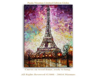 Wall Art Eiffel Tower Giclee PRINT on Canvas Home Decorating idea city Paris building