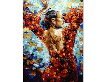 Oil painting on canvas Flamenco Dancer  Figure art  Modern Home Decor ready to hang