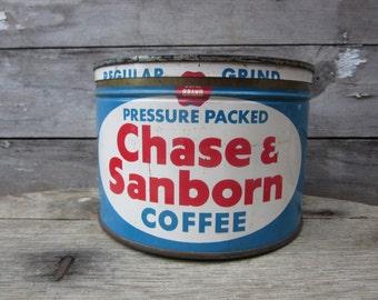 Vintage Tin Coffee Can Chase & Sanborn Blue Red White Kitchen Metal Tin Storage Display Country Farm Retro Kitchen Rustic Primitive Vtg Old