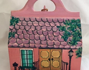 Cute 1950s 60s Wood House Shaped Bag Purse Pink Hand Painted