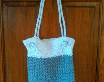 Crocheted Gray and White Shoulder Bag