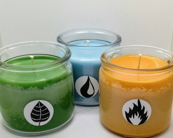SALE! // Grass, Fire and Water Scented Soy Candle Set / Elemental Candle Set / Nerdy Gift / Geeky Gift / Gift for Nerds