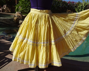 "Vintage 1950s squaw patio skirt very full cotton S/M swing yellow 29"" waist"