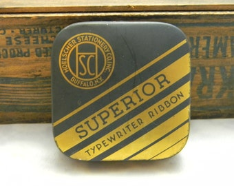 Vintage Superior Typewriter Ribbon Tin Hoelscher Stationery Co