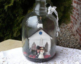 Vintage Church Scene in a Cider Jug ~ So Cute and One of a Kind // Great Vintage Wedding Decor // Shabby Chic Decor // Country Wedding