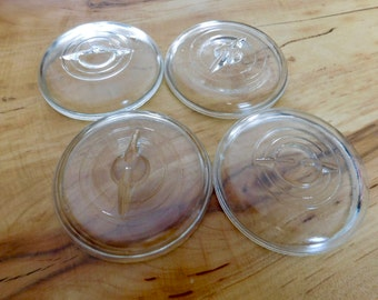 Vintage Clear Glass Jar Lids for Mason, Atlas, Ball Jars.  Concentric Circle with Wire Rest,  Wire Bail Mason Jar Lids , 3""