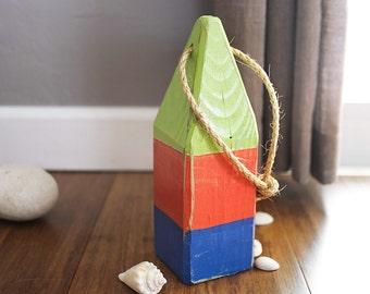 "Beach Decor, 11"" Old-style float buoy, Green, Orange, Blue Vintage, Nautical, by SEASTYLE"