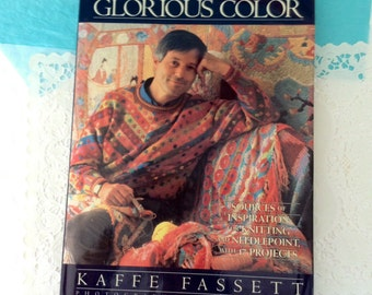 Needlepoint book - Kaffe Fassett - Glorious Color - Hard cover - inspiration - 17 needlepoint & knitting projects -   vintage 80s