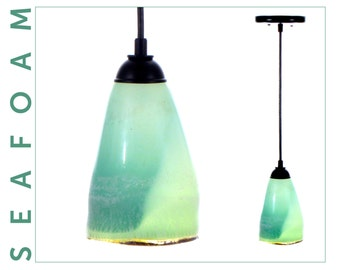 Black Cord Pendant Lighting, Blown Glass Pendant Lights with Black Cord & Canopy by Crosta Glass Studio