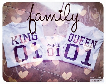Matching Family Shirts - Family Goals - King Queen, Prince or Princess - great for baby showers - baby annoucement - vinyl NOT paint
