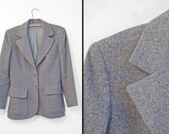 HERRINGBONE Wool Blazer 70s Gray + Blue Tweed Size Small Three Pocket Waistcoat