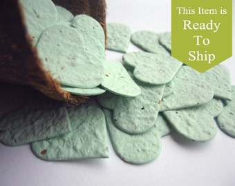 Soft Sage Green Plantable Seed Paper Confetti Hearts - READY-TO-SHIP - Mint Green Wedding Favors, Bridal Shower Favors, Baby Shower Favors