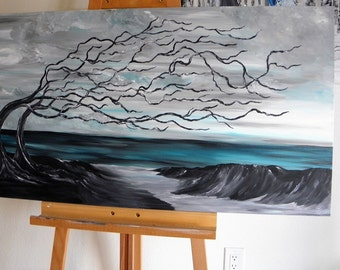 beach driftwood painting, 24x48 acrylic, fantasy art, fun art, beachy, deadwood, coast painting