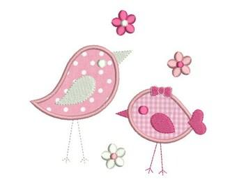 Embroidery design machine applique birds instant download