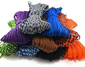 50 ft or 100 ft of Wholesale 550 Paracord Type III 7 strand Commercial Grade Parachute Cord - Made in the U.S.A.