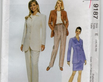 Unlined Princess Seamed Jacket Pants Front Pleats Skirt Waistband Back Zipper Vintage Plus Size 14 16 18 Sewing Pattern 1998 McCall's 9187