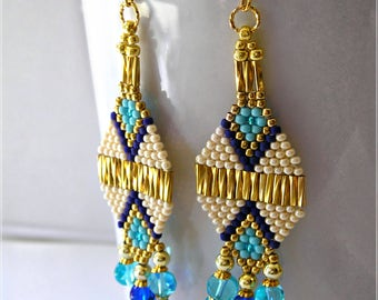 Turquoise, Blue & Beige with Gold Native American Inspired Earrings: Beaded Fringe - Gold Chandelier Boho Earrings, Southwestern Jewelry