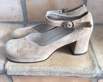Vintage Mary Jane shoes in suede leather size 39