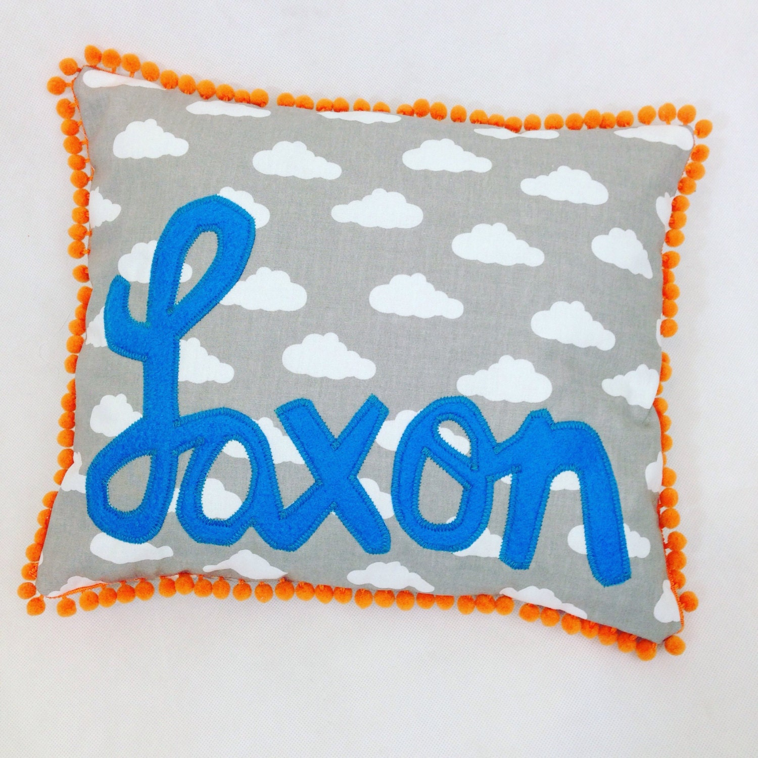 Baby Gift With Name : Baby gift name cushion pom trim boy girl