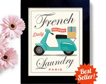 Laundry Room Decor French Laundry Kitchen Art Sign Wall Art Print Paris France Washing Machine Sign Bicycle Gift French Country Home
