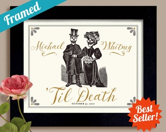 Til Death Do Us Part Mr and Mrs Personalized Wedding Gift Skeleton Anniversary Gift Goth Art Day of the Dead for Couples Dia de los Muertos
