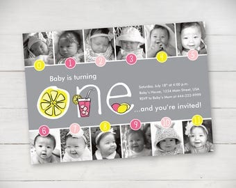 Pink Lemonade Timeline First Birthday Invitation