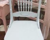 Vintage Hand Painted Blue Chair Press Back Farmhouse Shabby Chic Paris Flea Market