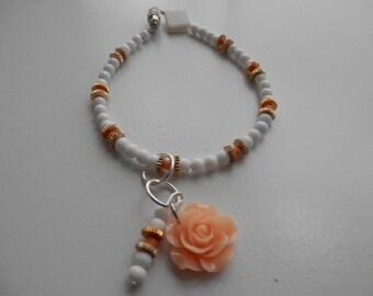 PEACH ROSE  Charm Bracelet