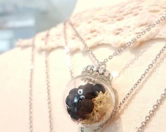 Little black soots glass globe necklace pendant