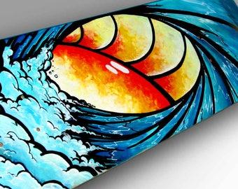 Ocean Wave Painting Skateboard Art   Surf Art   Surfer Decor   Wave Wall Art   Nautical Decor   Hipster Wall Art   Waves   Ocean Painting
