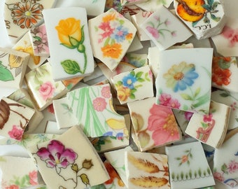 Mosaic Tiles FLOWERS China- 115 pieces