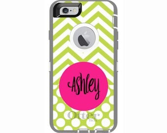 Custom iPhone 6 & iPhone 6s Chevron and Dots Otterbox Defender Phone Case | Personalized Otterbox Phone Case