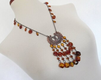 TRIBAL CHIC . Amber-Cognac-Toned Lucite Beads Chunky Pendant Cleopatra Necklace