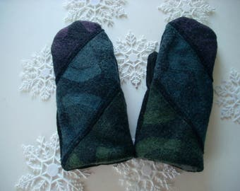 SALE!! Black and Muted Multi Colored Wool Sweater Mitten