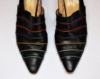 Vintage PHILIPPE MODEL Designer Leather Mules Pointed Toe Slip On Slingback Heels