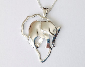 Africa outline African elephant necklace Africa pendant Map of africa - sterling silver (925)