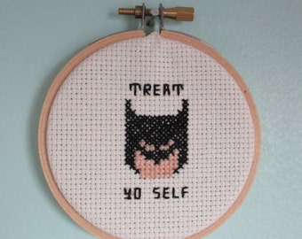 Parks and Rec treat yo self Batman completed cross stitch