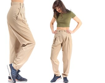 TAPERED Pants Vintage 80s High Waisted Beige Trousers Peg Leg High Rise Pants 1980s Cotton Minimalist Pleated Retro Trousers Small to Medium