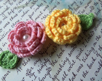 Handmade Crochet Flower Appliques. Yellow and Pink Crochet Flower Appliques.