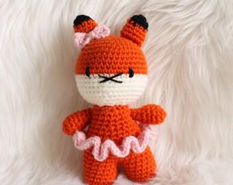 Fox Rattle Toy, Crochet Amigurumi Toy, Baby Toy, Handmade Ready to Ship
