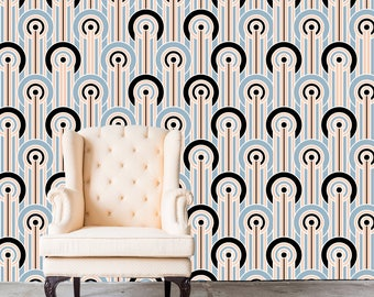 Removable 1920's Wallpaper - GATSBY- Peel & Stick Self Adhesive Fabric Temporary Wallpaper-Repositionable-Reusable- FAST. EASY.