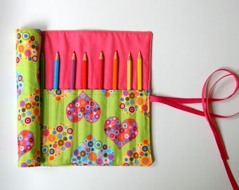 Pencil Roll All My Heart Includes 12 Quality Pencils + One HB Graphite Pencil Crochet Hook Roll Brush Roll