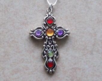 Vintage multi-color rhinestone cross pendant necklace, vintage cross, filigree cross, silver-tone cross, sterling silver chain.