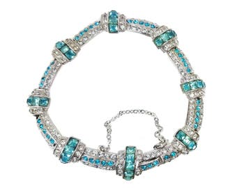 Vintage ORA Signed Rhinestone Bracelet // Art Deco Aqua Blue & Clear Rhinestone Rhodium Link Bracelet // Elegant Something Blue Wedding